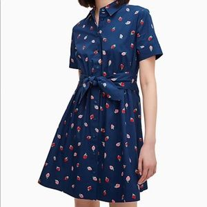 Kate Spade wild strawberries tie-waist mini dress
